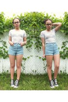 blue American Apparel shorts - light purple lilac lace American Apparel top