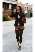Zara sweater - Uterqüe boots - Zara blazer - OASAP bag - Stradivarius shorts
