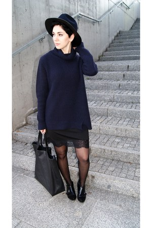 black lace Choies dress - black Bershka shoes - navy Zara hat