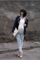 white Zara bag - black leather jacket H&M jacket - white Cubus sweater
