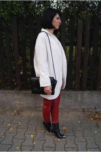 white Zara jacket - white H&M sweater - black Zara bag