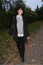 black H&M shoes - black Zara coat - periwinkle SH sweater - white Bershka blouse