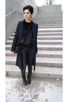 black Zara bag - navy Zara coat - black Zara pants