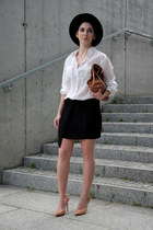 black pleated OASAP skirt - black Zara hat - white Bershka shirt