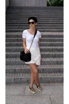 black Zara bag - mustard leopard print Choies shoes - white Zara skirt