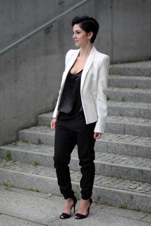 black satin Choies top - white Zara jacket - black Zara pants - black Zara heels