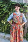Periwinkle-suede-macys-boots-brick-red-paisley-mousevox-vintage-dress