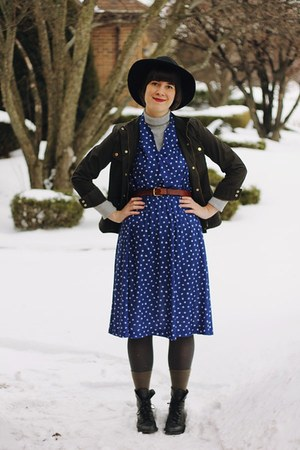 dark green cargo army J Crew jacket - navy midi floral Kaiho Vintage dress
