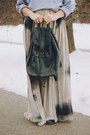 Tan-tie-dye-maxi-zara-dress-red-pompom-knit-fall-code-hat