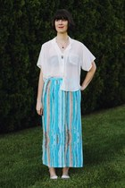 ivory sheer American Apparel shirt - sky blue Honeymoon Muse Vintage skirt