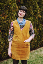 mustard suede pinafore Omnia Vintage dress