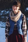 Brown-southwestern-thrifted-shirt-tan-infinity-knit-the-seam-design-scarf