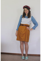 white polka dot Vintage 1980s Pick of the Crop Top shirt