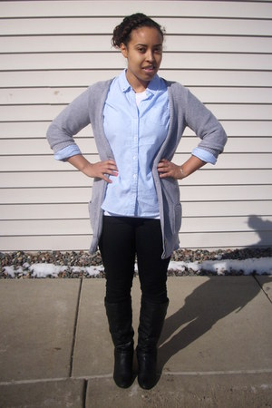 blue Target shirt - black Old Navy pants - heather gray American Eagle cardigan