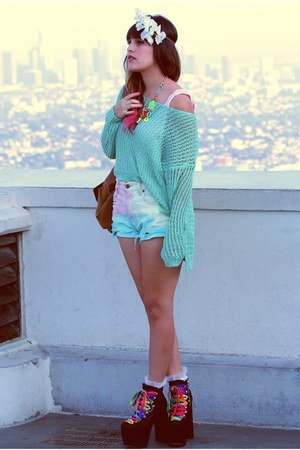 bubble gum pastel studded Dip Dyed shorts - aquamarine Mint Knit sweater