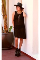 black mesh Thrift Store dress - black concho hat mint hat