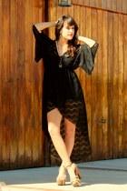 black lace tail dress dress - light brown Qupid heels