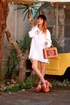 platforms Jeffrey Campbell heels - fringe knit vintage dress - thrifted bag