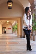 black sam edelman boots - blue J Brand jeans - white H&M blazer