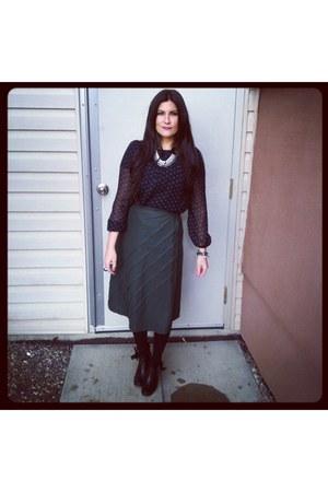 black vintage boots - mustard coach bag - dark green vintage skirt