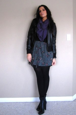 black Leather jacket jacket - black Aldo boots - heather gray merona dress