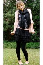 pink Nordstrom cardigan - black Urban Outfitters shirt - black Forever 21 skirt