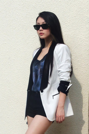 Zara blazer - Topshop shorts - Ray Ban sunglasses - Zara top