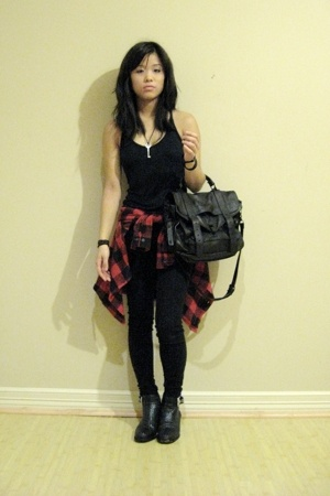 realitee shirt - PROENZA SCHOULER purse - Hot Topic pants - thrifted boots - gif