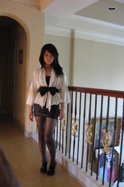 black mirrored heel Aldo shoes - black American Apparel dress