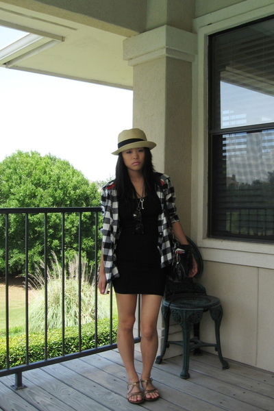 American Apparel dress - thrifted jacket - forever 21 tights - Clarks shoes