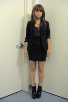 black Theory blazer - black sam edelman shoes - gray cashmere tank Uniqlo top