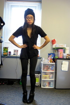 black beanie Forever 21 hat - black suede boots Nine West shoes