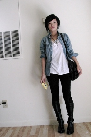 blue denim H&M jacket - black boots fitzwell perrin shoes - white Target shirt
