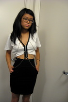black pencil H&M skirt - white diy mid-drift Urban Outfitters shirt