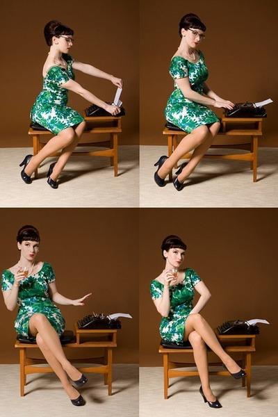 green vintage handmade dress - blue vintage shoes - beige vintage stockings