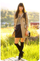 navy dress - tan trench coat Forever 21 coat