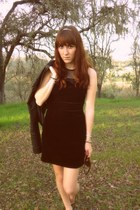 black velvet dress - black leather jacket jacket