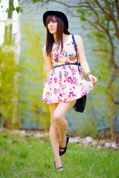 floral OASAP dress - H&amp;M hat