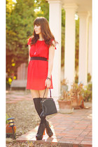 red bow Forever 21 dress - black litas Jeffrey Campbell boots