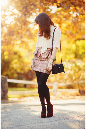 mustard sequin Nasty Gal skirt - black leather H&amp;M bag