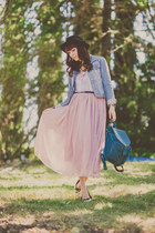 light pink chiffon OASAP skirt - light blue denim Forever 21 jacket