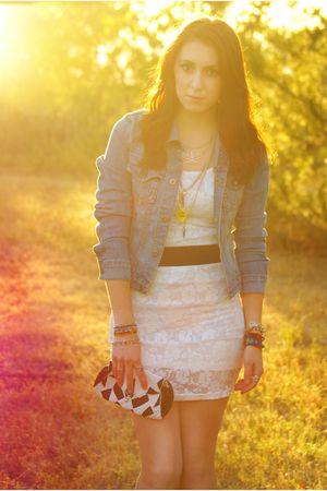 white H&M dress - blue jacket - white purse