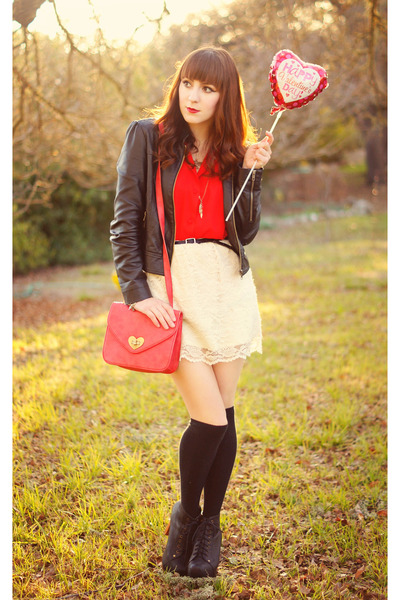 red vintage Goodwill blouse - black leather Forever 21 jacket