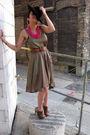 Green-h-m-dress-brown-nicholas-kirkwood-shoes-black-vintage-hat-brown-vint