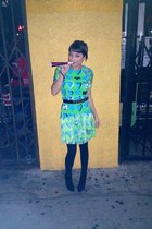 black Aldo shoes - chartreuse fringe versace x h&m dress - black Moschino belt
