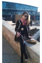 wool Zara cardigan - silk scarf versace scarf - vogue eyewear sunglasses