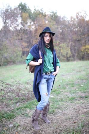 thrifted hat - Tally Weijl jeans - denim thrifted shirt - cardigan