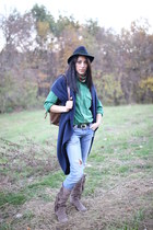 thrifted hat - Tally Weijl jeans - denim thrifted shirt - cardigan