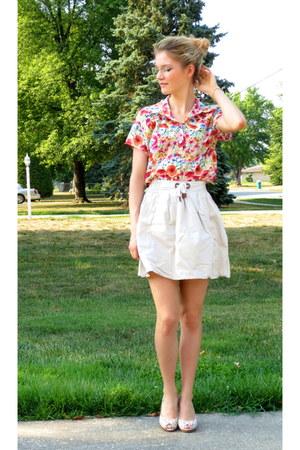 thrifted blouse - Zara skirt - Tamaris heels