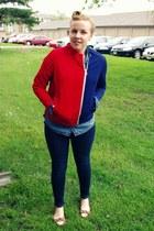 red vintage jacket - navy Charlotte Russe jeans